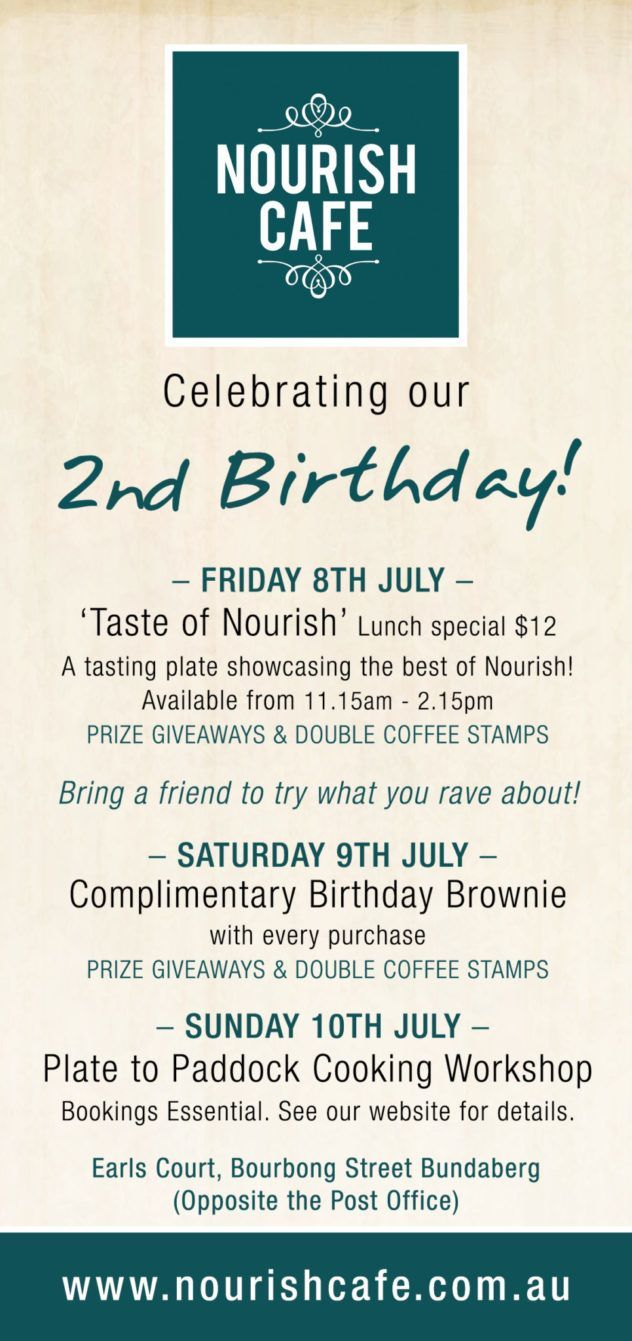 Nourish 2nd Birthday Celebration Flyer